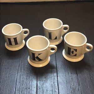 Anthropologie letter mugs E K L H